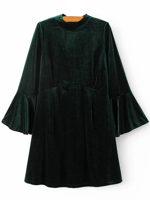 outfit Cut Out Bell Sleeve Velvet Dress - BLACKISH GREEN L Mobile