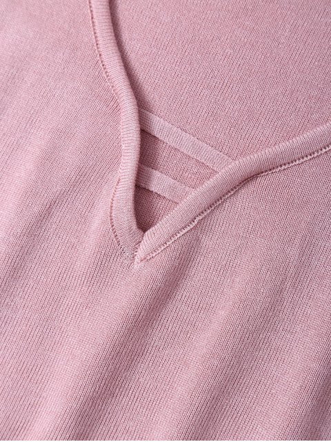 women's V Neck Sweater Tank Top - PINK ONE SIZE Mobile