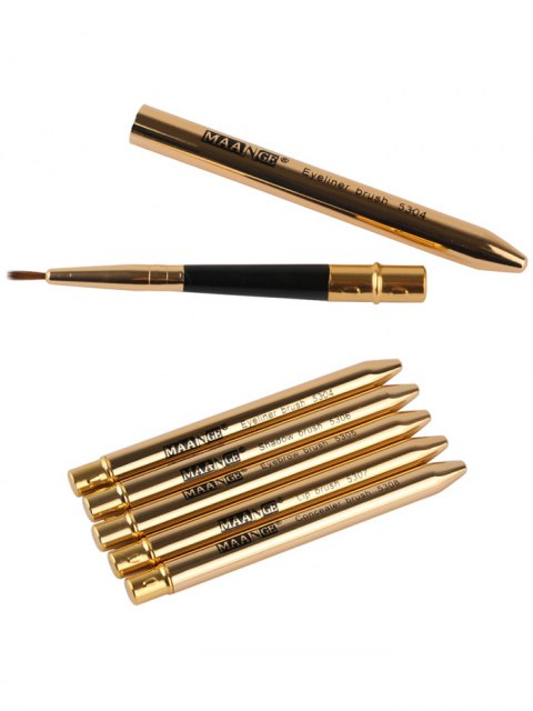 outfit 5 Pcs Covered Makeup Brushes Set - GOLDEN  Mobile