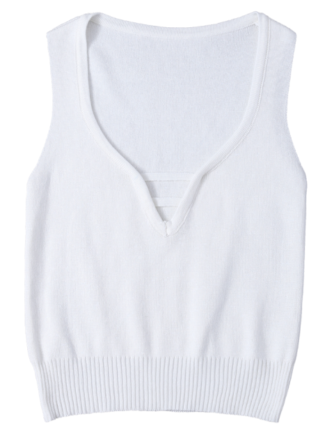 new V Neck Sweater Tank Top - WHITE ONE SIZE Mobile
