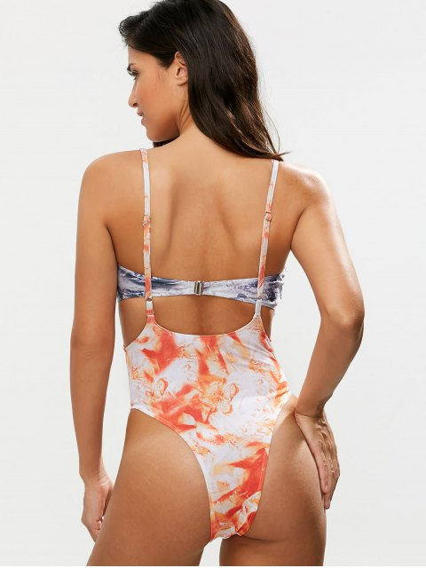 affordable Printed High Waisted One-Piece Swimwear With Strapless Bra - ORANGEPINK M Mobile