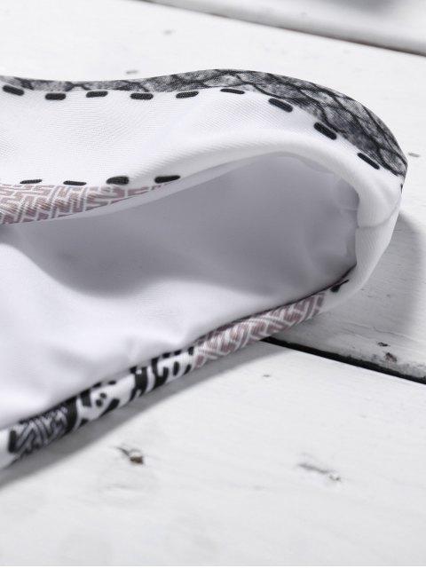 sale Striped Halter Rope Bikini Set - WHITE S Mobile