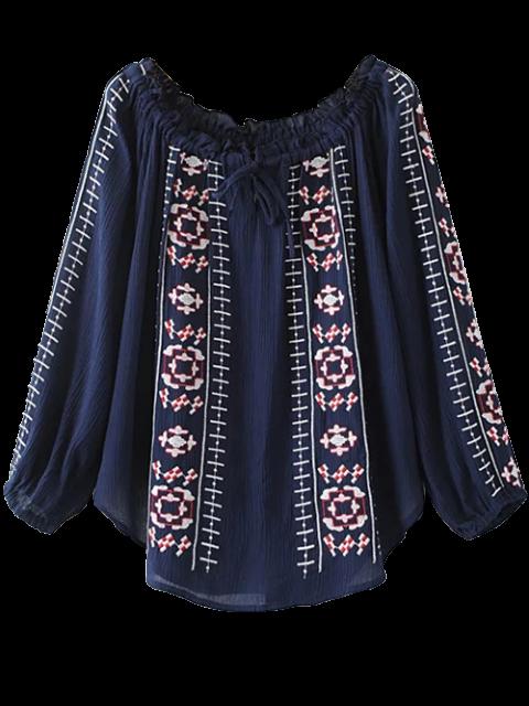 women Embroidered Off Shoulder Blouse - PURPLISH BLUE L Mobile