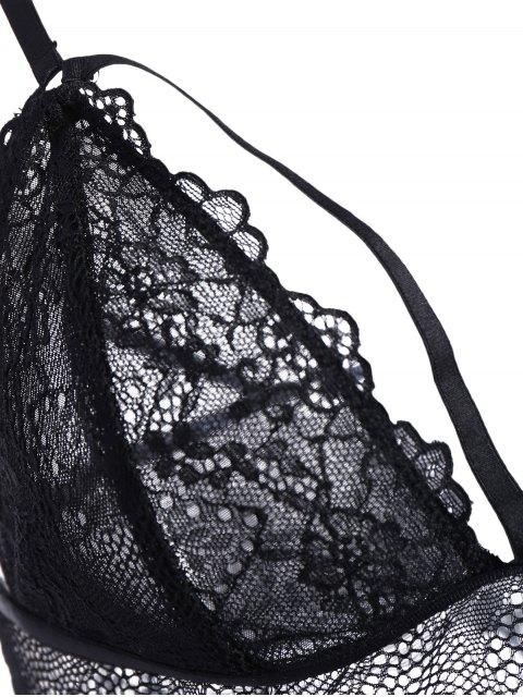 fashion Sheer Lace Bandage Bra Set - BLACK XL Mobile