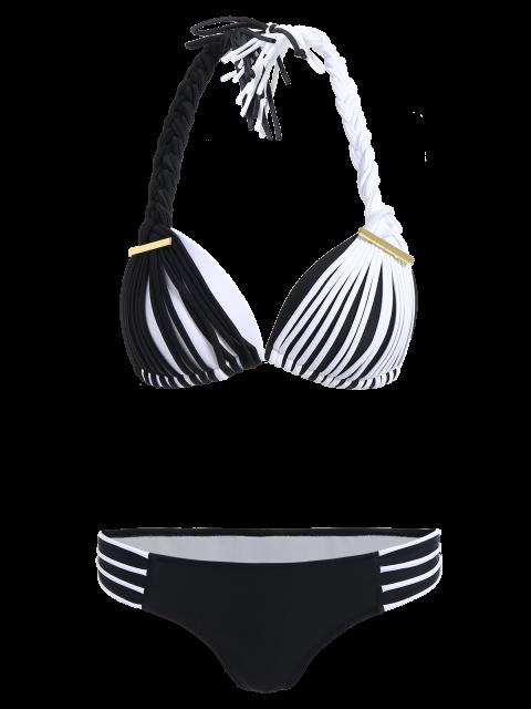 chic Color Match Braided Halter Bikini - WHITE AND BLACK M Mobile