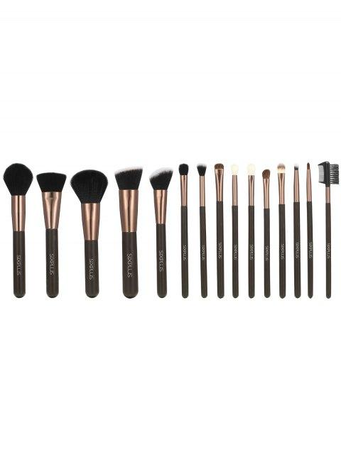 shops 15 Pcs Makeup Brushes Kit - COFFEE  Mobile