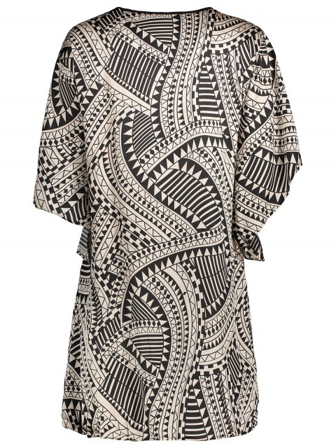 women Flare Sleeve Geo Print Buttoned Chiffon Dress - COLORMIX XS Mobile