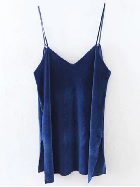 fancy Slit Cami Velvet Tank Top - ROYAL L Mobile