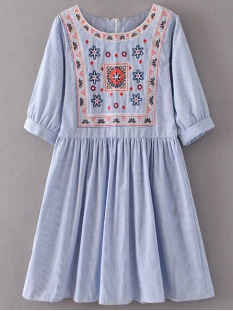 fashion Striped Embroidered Smock Mini Dress - LIGHT BLUE M Mobile