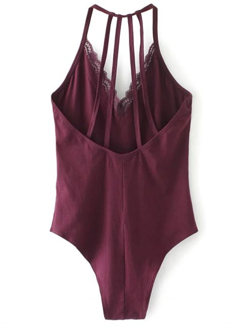 chic V Neck Strappy Lace Panel Bodysuit - WINE RED S Mobile