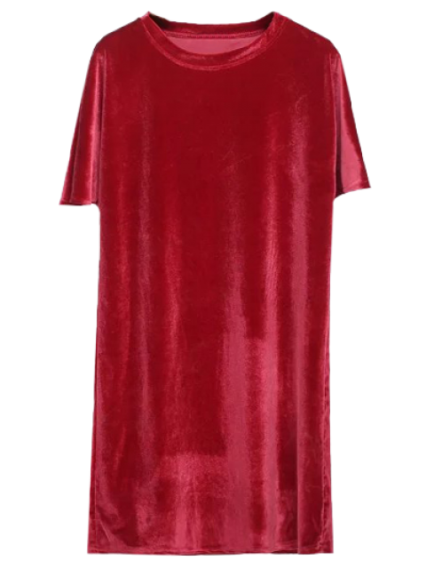 outfits Velvet Mini Shift Layering Dress - BRIGHT RED ONE SIZE Mobile