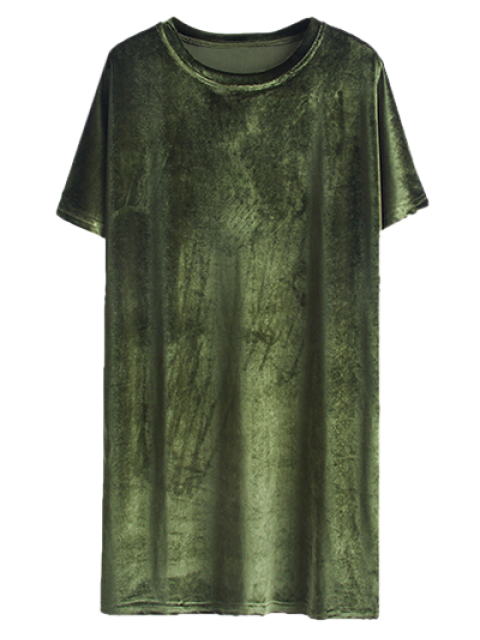outfit Velvet Mini Shift Layering Dress - ARMY GREEN ONE SIZE Mobile
