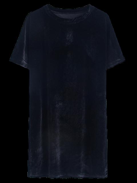 hot Velvet Mini Shift Layering Dress - BLACK ONE SIZE Mobile
