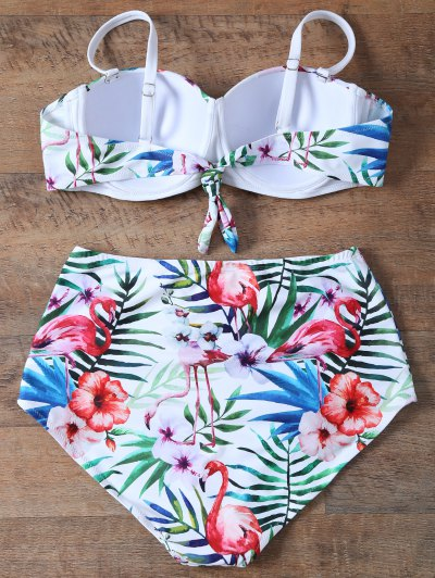 Push Up Printed High Waisted Bikini Set - WHITE M Mobile