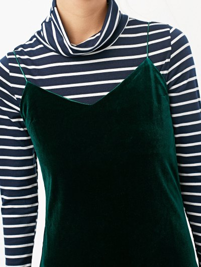 Side Slit Velvet Cami Dress - BLACKISH GREEN L Mobile