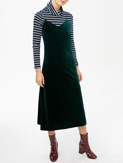 Side Slit Velvet Cami Dress - BLACKISH GREEN M Mobile