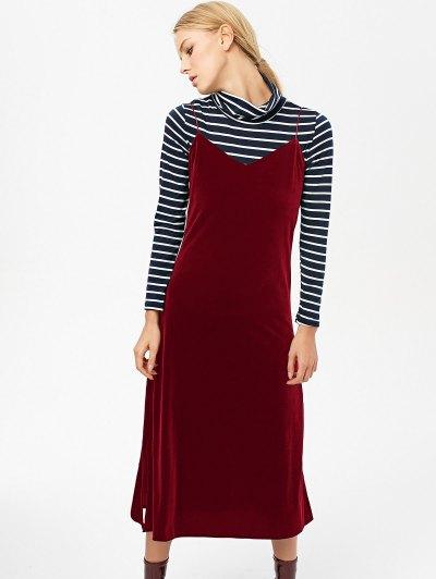 Side Slit Velvet Cami Dress - BURGUNDY L Mobile