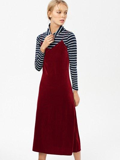 Side Slit Velvet Cami Dress - BURGUNDY S Mobile