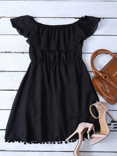 Ruffles Mini Off The Shoulder Dress - BLACK L Mobile