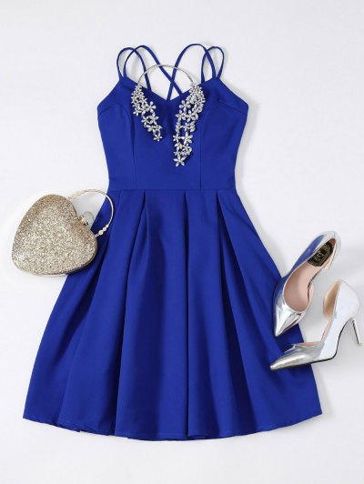 Flared Mini Cocktail Dress - SAPPHIRE BLUE M Mobile