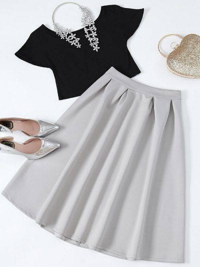 Cropped Tee and Midi Flare Skirt - BLACK AND GREY L Mobile