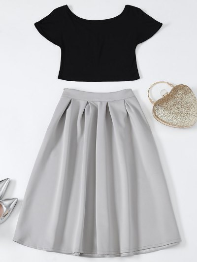 Cropped Tee and Midi Flare Skirt - BLACK AND GREY S Mobile