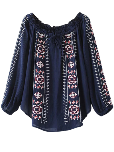 Embroidered Off Shoulder Blouse - PURPLISH BLUE L Mobile