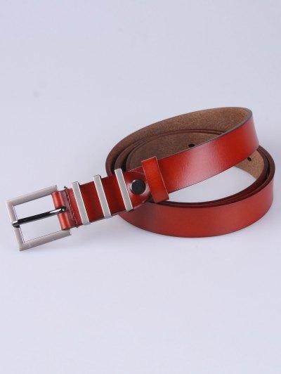 Alloy Pin Buckle Belt - DARK AUBURN  Mobile
