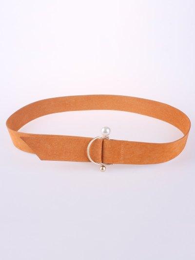 D Buckle Faux Suede Waist Belt - ORANGE  Mobile