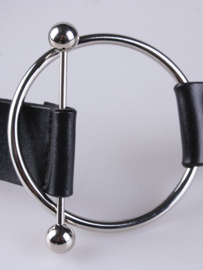 Round Buckle Faux Leather Wide Belt - BLACK  Mobile