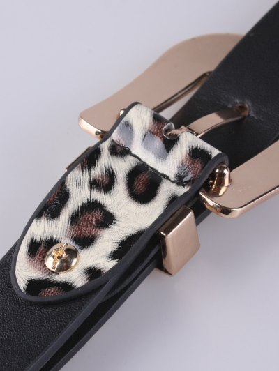Double Buckles Leopard Pattern Wide Belt - WHITE  Mobile
