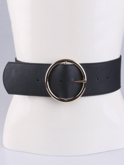 Round Pin Buckle Elastic Wide Belt - BLACK  Mobile