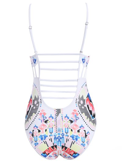 Cut Out Printed Cami Swimwear - WHITE L Mobile