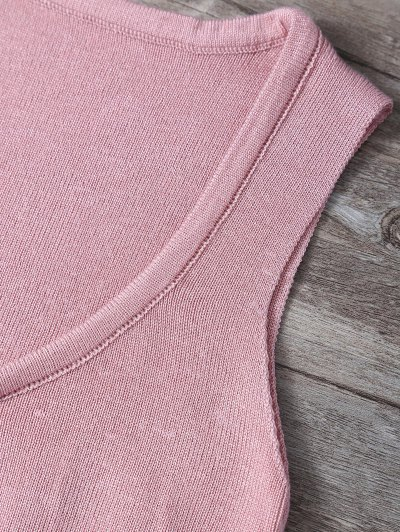 V Neck Sweater Tank Top - PINK ONE SIZE Mobile