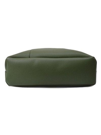 Wood Ball Tassel Shoulder Bag With Wristlet - GREEN  Mobile