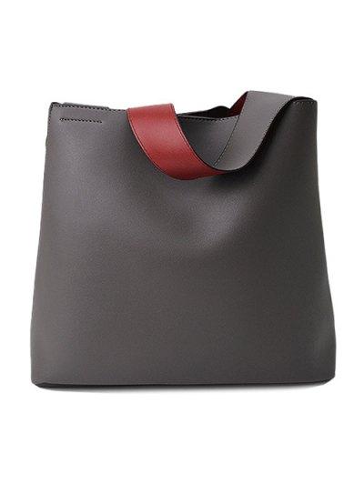 Wood Ball Tassel Shoulder Bag With Wristlet - GRAY  Mobile