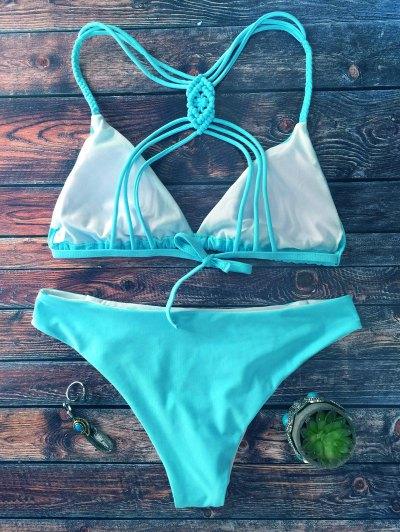 Crosscriss Strappy Bikini Set - BLUE S Mobile