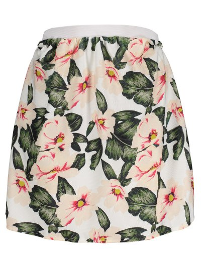 Floral A-Line Mini Skirt - GREEN 2XL Mobile
