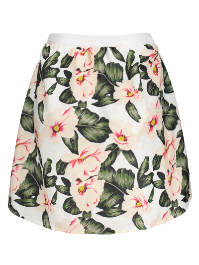 Floral A-Line Mini Skirt - GREEN M Mobile