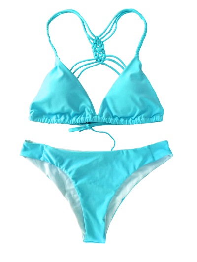 Crosscriss Strappy Bikini Set - BLUE L Mobile