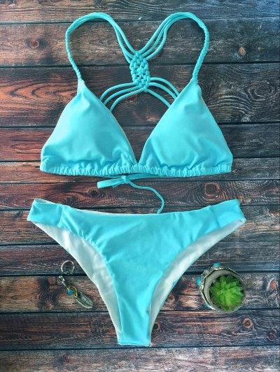 Crosscriss Strappy Bikini Set - BLUE M Mobile