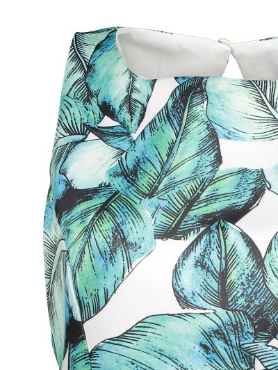 Back Stitch Printed A-Line Dress - GREEN XL Mobile