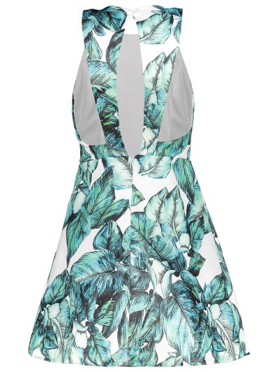 Back Stitch Printed A-Line Dress - GREEN L Mobile