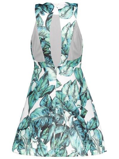 Back Stitch Printed A-Line Dress - GREEN M Mobile