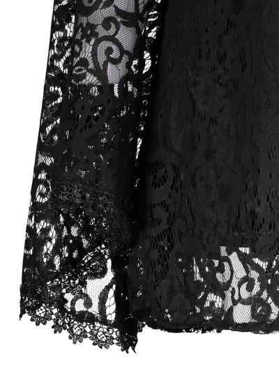Bell Sleeve Plunge Neck Lace Dress - BLACK L Mobile