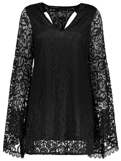 Bell Sleeve Plunge Neck Lace Dress - BLACK M Mobile