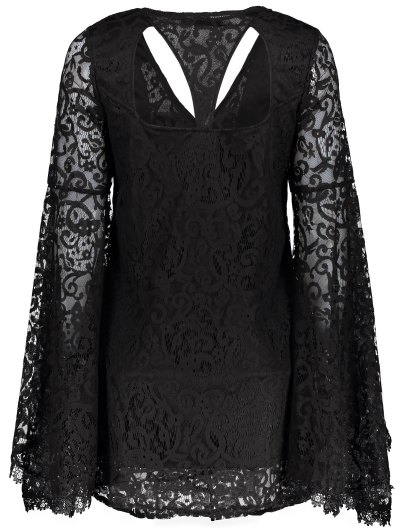 Bell Sleeve Plunge Neck Lace Dress - BLACK S Mobile