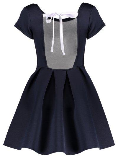 Open Back Bonded Skater Dress - CADETBLUE XL Mobile