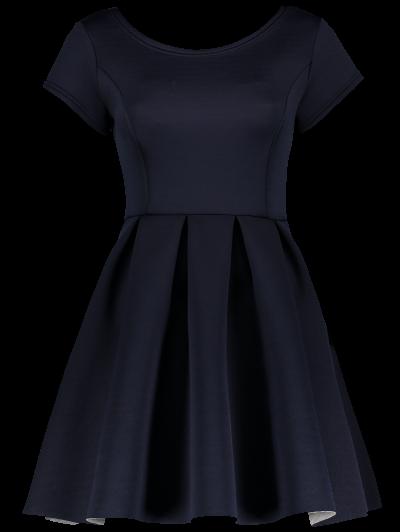 Open Back Bonded Skater Dress - CADETBLUE M Mobile