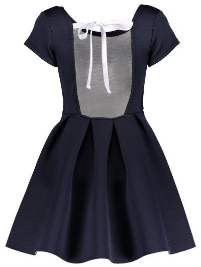 Open Back Bonded Skater Dress - CADETBLUE S Mobile
